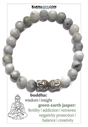 Meditation Mantra Yoga Bracelets. Self-Care Wellness Wristband Jewelry. Green Earth Jasper.