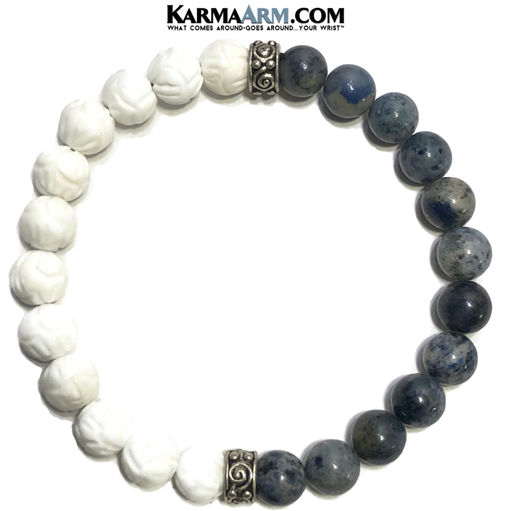 Meditation Wellness Yoga Bracelets. Mens Wristband Jewelry. Lotus Carved Tridacna.