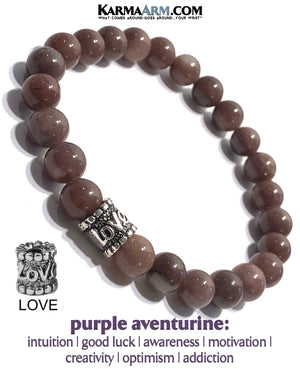 Meditation Wristband yoga bracelets. mens beaded jewelry.  Purple Aventurine Gold Lpve bead. copy