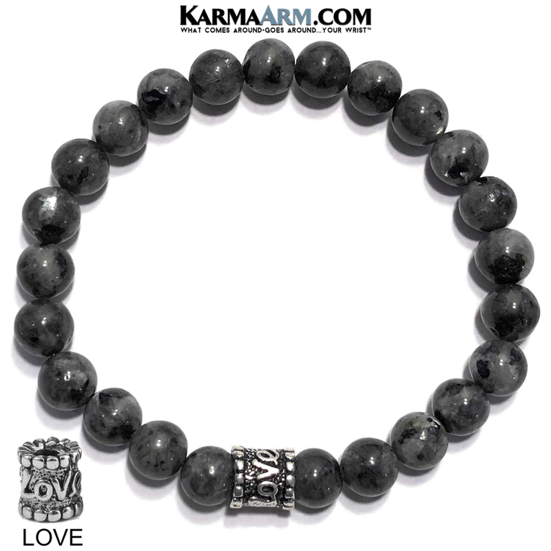 Meditation Wristband yoga love bracelets. mens beaded jewelry.  Black Moonstone Labradorite  Bead.