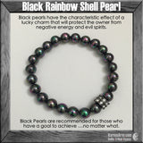 GOALS: Black Rainbow Shell Pearl • Swarovski Meditation Yoga Bead Bracelet - Karma Arm