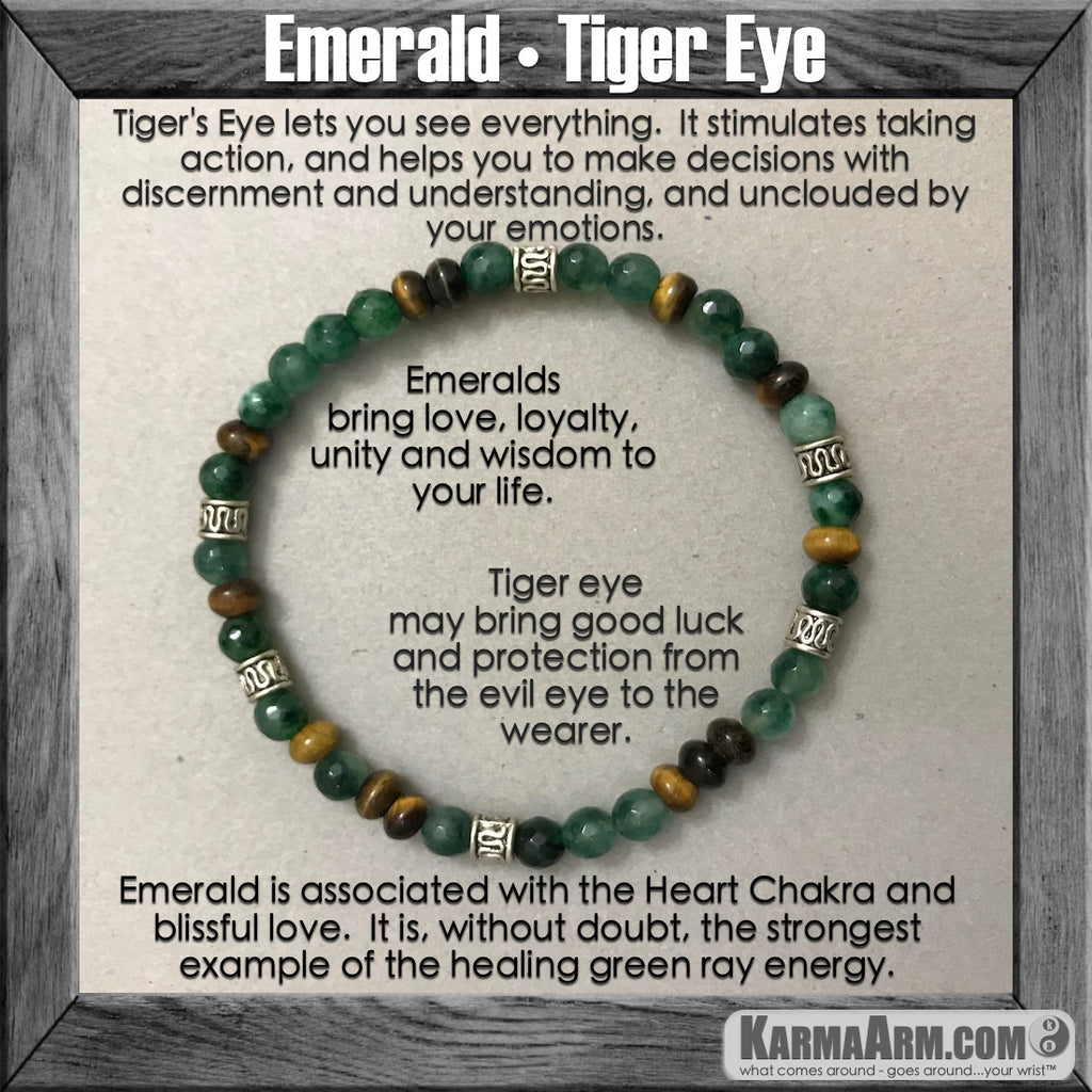 Meditation Yoga Bead Bracelet Healing Mala spiritual karma jewelry for men & women BohoChic Bracelets. Emerald tiger eye.