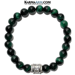 Meditation Yoga Bracelet. Mens Self-Care Wellness Wristband Jewelry.   Green Tiger Eye Diamond Barrel.