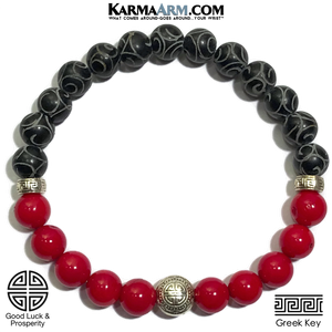Meditation Yoga Bracelet. Mens Self-Care Wellness Wristband Jewelry. Red Coral. Black Jade Greek Key.