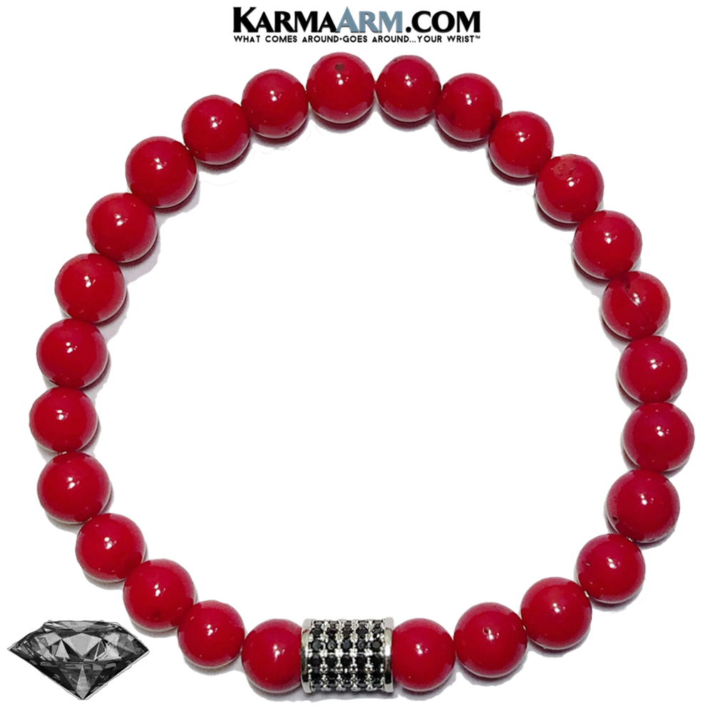 Meditation Yoga Bracelet. Mens Self-Care Wellness Wristband Jewelry. Red Coral. copy