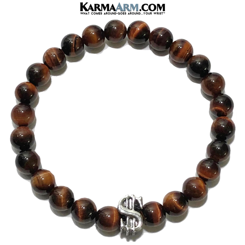 Meditation Yoga Bracelet. Mens Self-Care Wellness Wristband Jewelry. Red Tiger Eye Dollar Sign.