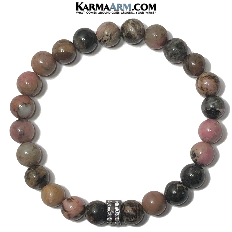 Meditation Yoga Bracelet. Mens Self-Care Wellness Wristband Jewelry. Rhodonite.