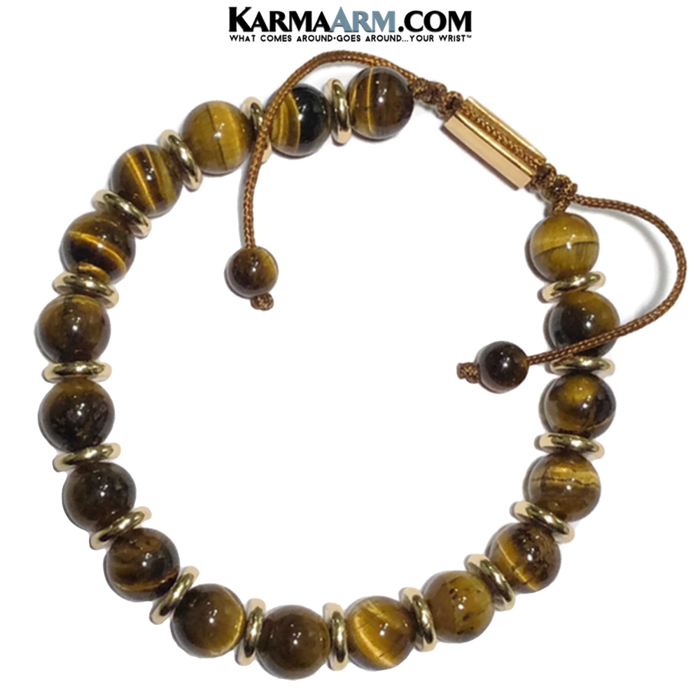 Meditation Yoga Bracelet. Mens Self-Care Wellness Wristband Jewelry. Tiger Eye.