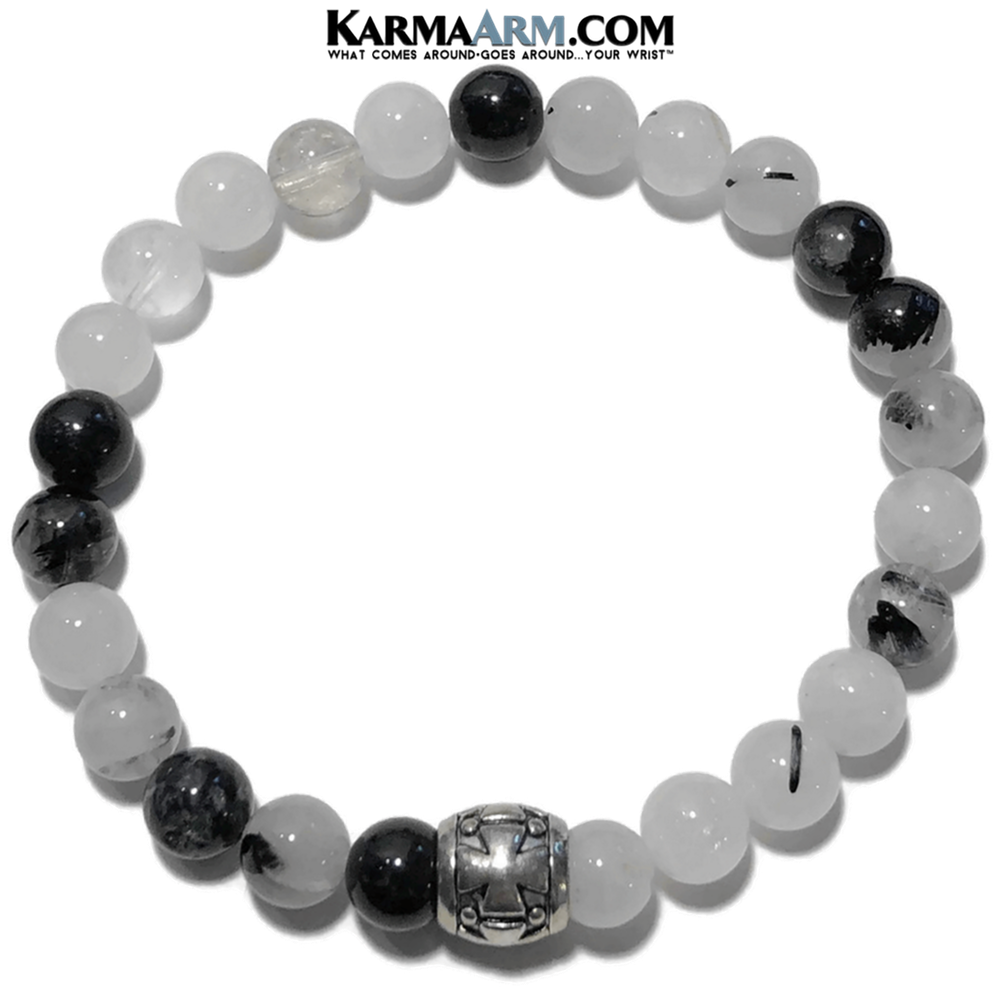 Meditation Yoga Bracelet. Mens Self-Care Wellness Wristband Jewelry.  Tourmaline Quartz.