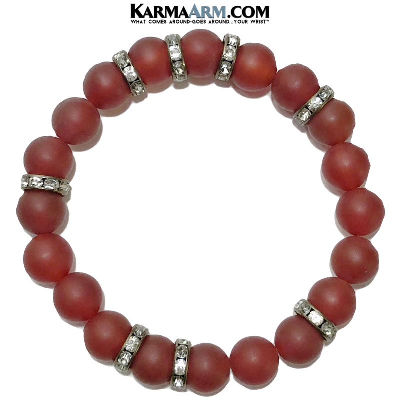 Meditation Yoga Bracelet. Mens Self-Care Wellness Wristband Jewelry. matte red agate.