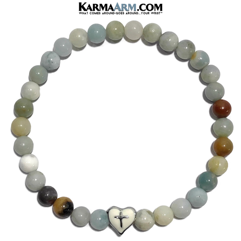Meditation Yoga Bracelet. Self-Care Wellness Wristband Jewelry. Amazonite. Heart Cross.
