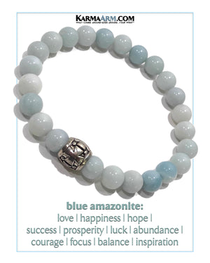 Yoga bracelets. Meditation self-care wellness mens bead wristband jewelry. Blue Amazonite. Gothic Cross.