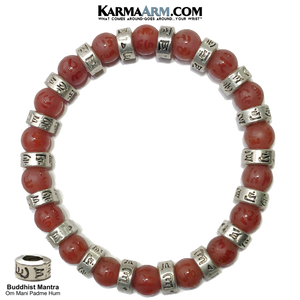 Meditation Mantra Self-Care Yoga Bracelet. Wellness Wristband Red Agate.