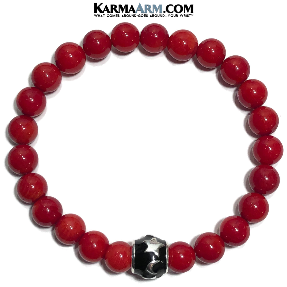 Meditation Yoga Love Bracelet. Mens Self-Care Wellness Wristband Jewelry. Red Coral.