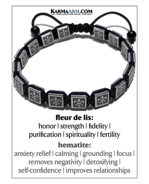 Pull Tie Self-Care Wellness Meditation Flat Bead Flatbead Mens Bracelet.
