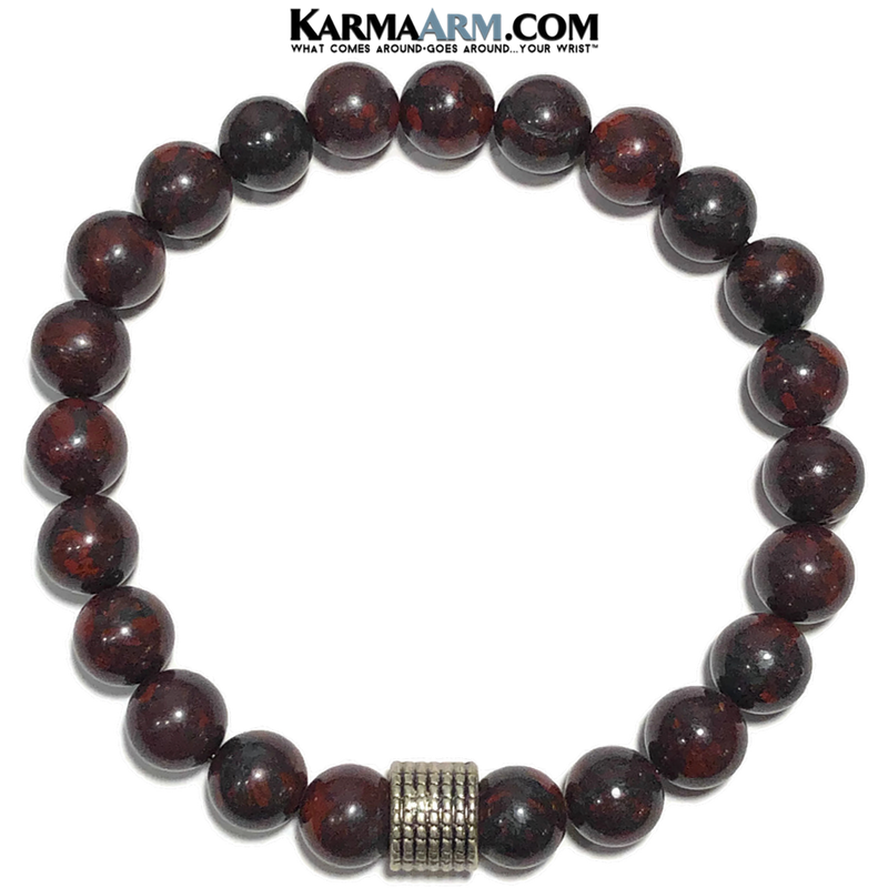Yoga bracelets Self-Care Mindfulness Meditation mens wristband jewelry. Bloodstone.