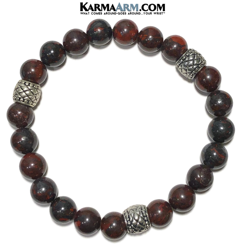 Mens Meditation Yoga bracelets. mens wristband jewelry. Bloodstone.