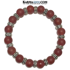 Meditation Yoga bracelets. self-care wellness mens bead wristband jewelry. Matte Red Agate Bali.