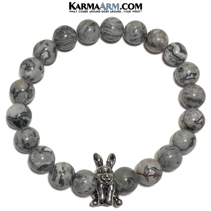 Meditation yoga bracelets. Rabbit self-care wellness mens bead wristband jewelry. Crazy Lace Agate.