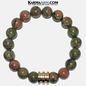 Mens Meditation Yoga Bracelets. Self-Care Wellness Wristband Jewelry. Unakite.