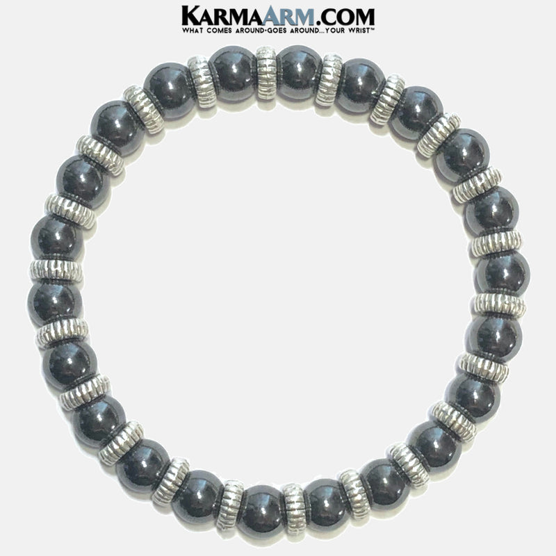 Mens Meditation Mantra Yoga Bracelets. Mens Wristband Jewelry. Hematite.
