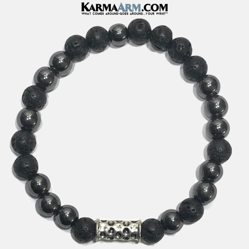 Mens Meditation Self-Care Wellness Mantra Yoga Bracelets. Mens Wristband Jewelry. lava Hematite.