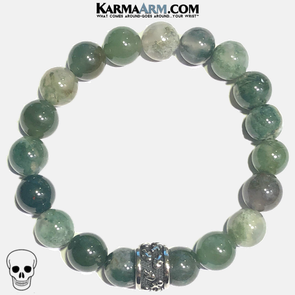 Mens Punk Gothic Skull  Meditation Mindfulness Mantra Yoga Bracelets. Self-Care Wellness Wristband Jewelry. Green Moss Agate.