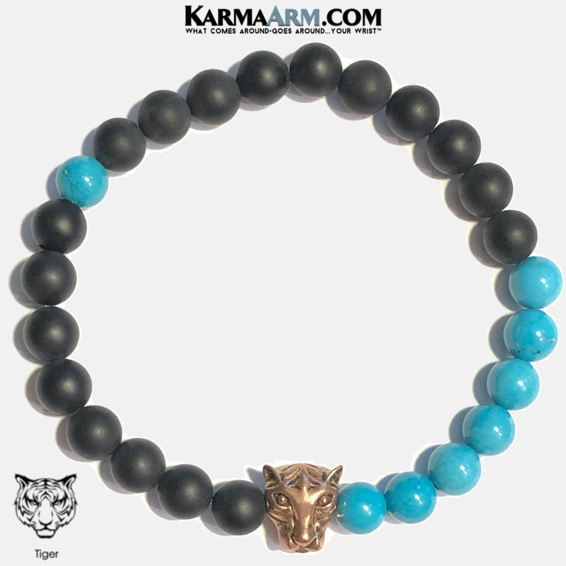 Tiger  Meditation Mantra Yoga Bracelets. Mens Wristband Jewelry. Turquoise.