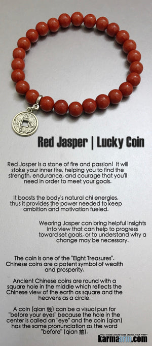 Mens Beaded Yoga Bracelet. Chakra Mala Stretch Jewelry. Red Jasper Lucky Coin.. .