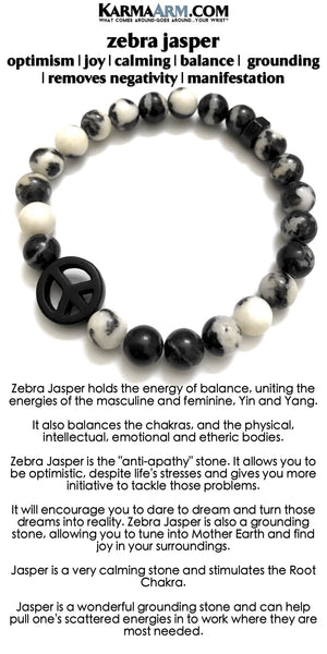 Mens Bracelets. Beaded Stretch Yoga Bracelets. BoHo Jewelry.  Reiki Healing Bracelets. Meditation Jewelry. Zebra Jasper Peace Sign.