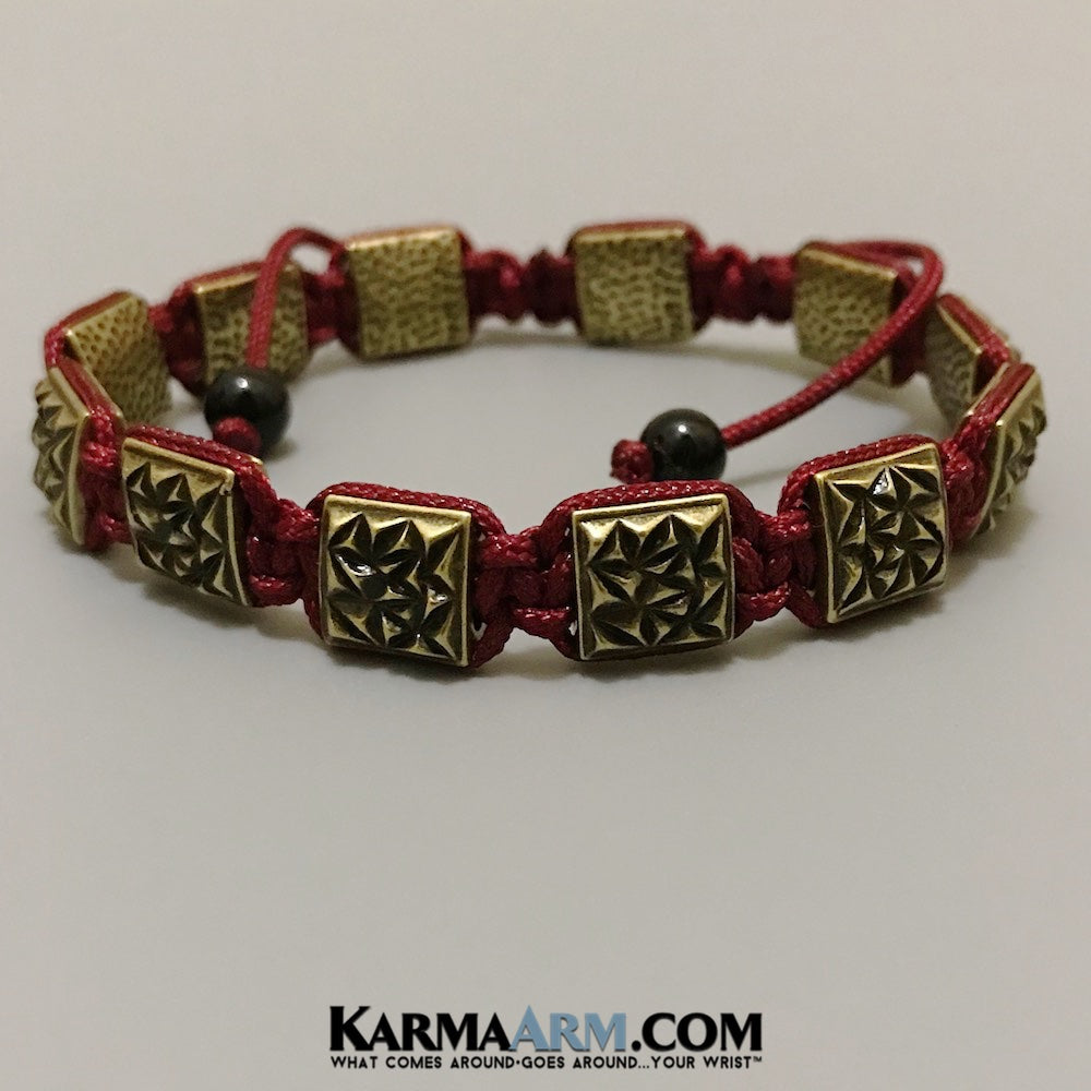 Mens Bracelets. Mens Jewelry. Flat Beads. FlatBeads Bracelets. Antiqued Gold. Red.