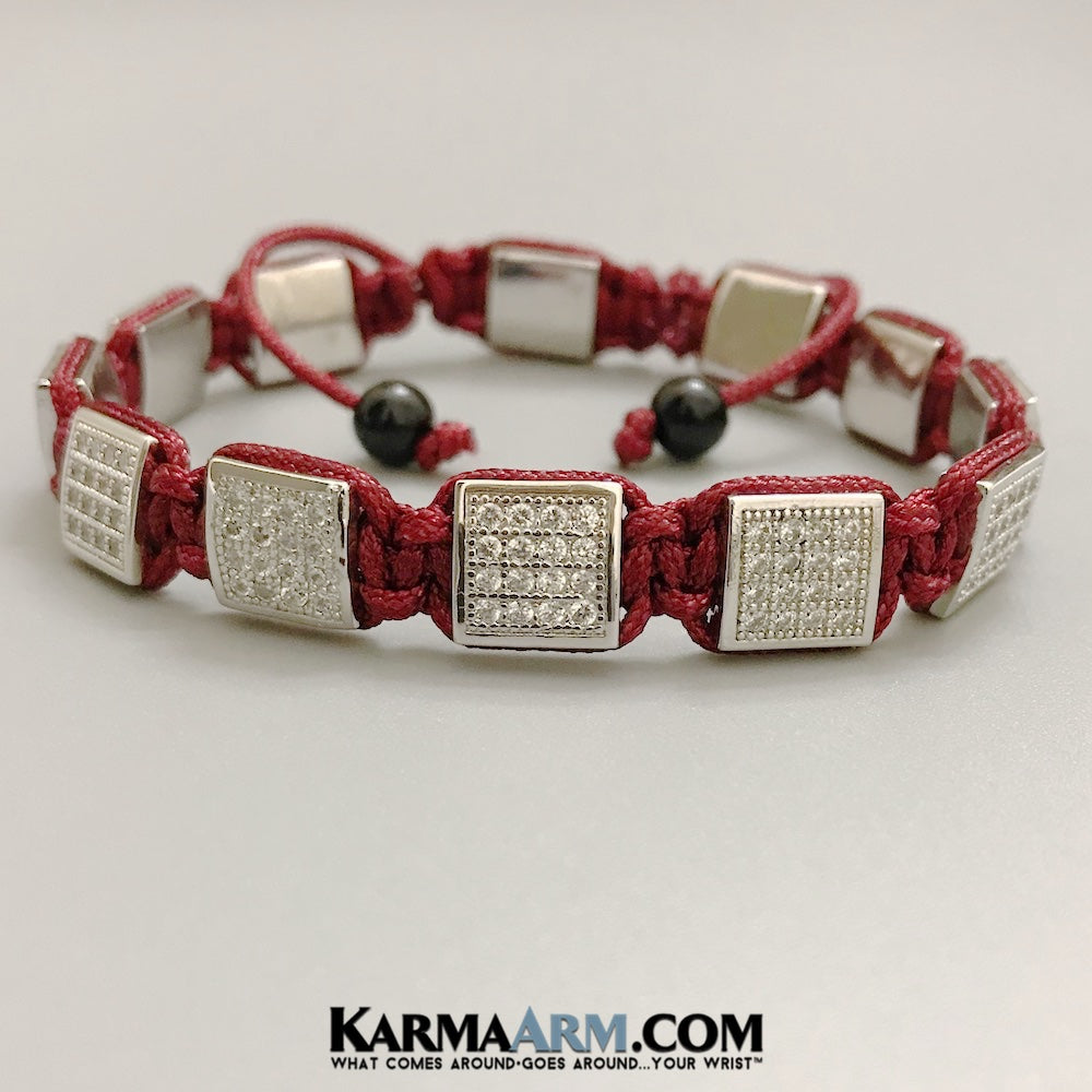 Mens Bracelets. Mens Jewelry. Flat Beads. FlatBeads Bracelets. CZ Diamond Red.