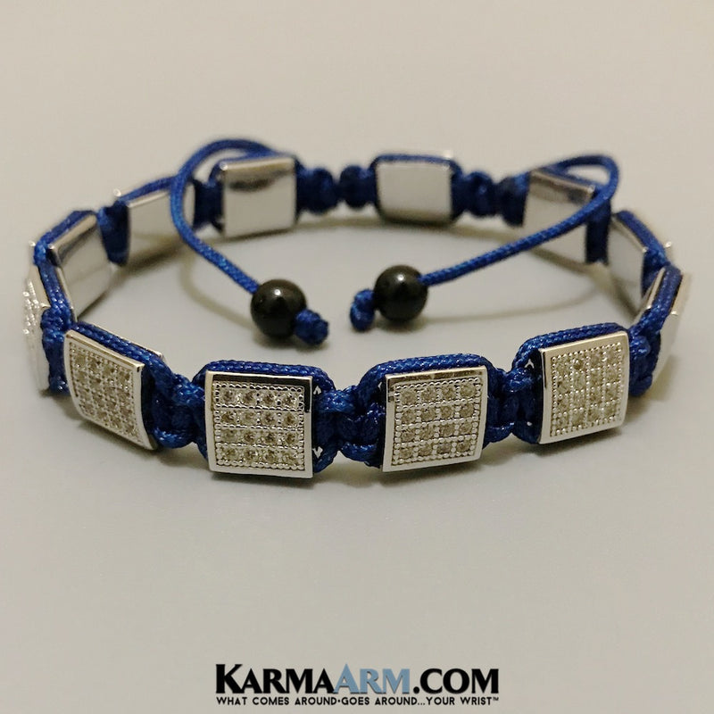 Mens Bracelets. Mens Jewelry. Flat Beads. FlatBeads Bracelets. CZ Diamond White Gold  Blue.