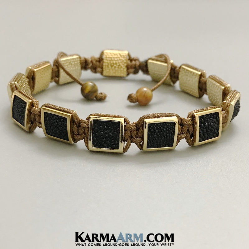 Flat Beads Mens Bracelets. Mens Jewelry. . FlatBeads Bracelets. Stingray Leather Bracelets. Gold. Bronze.