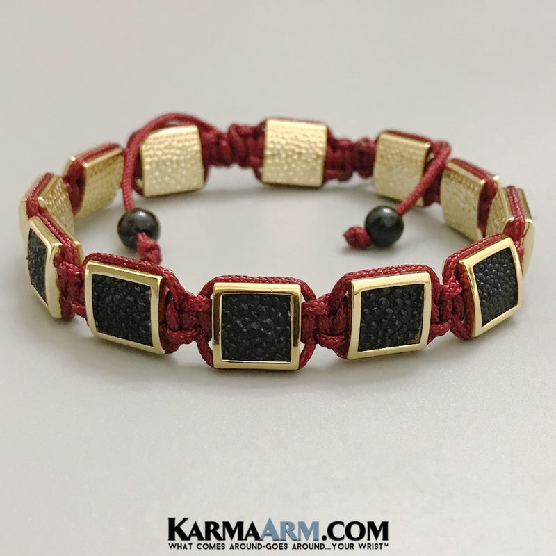 Mens Bracelets. Mens Jewelry. Flat Beads. FlatBeads Bracelets. Stingray Leather Bracelets. Gold. Red.