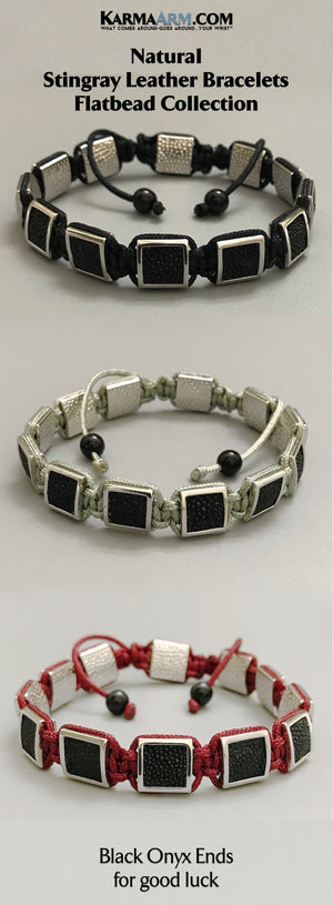 Mens Bracelets. Mens Jewelry. Flat Beads. FlatBeads Bracelets. Stingray Leather Bracelets. White Gold.