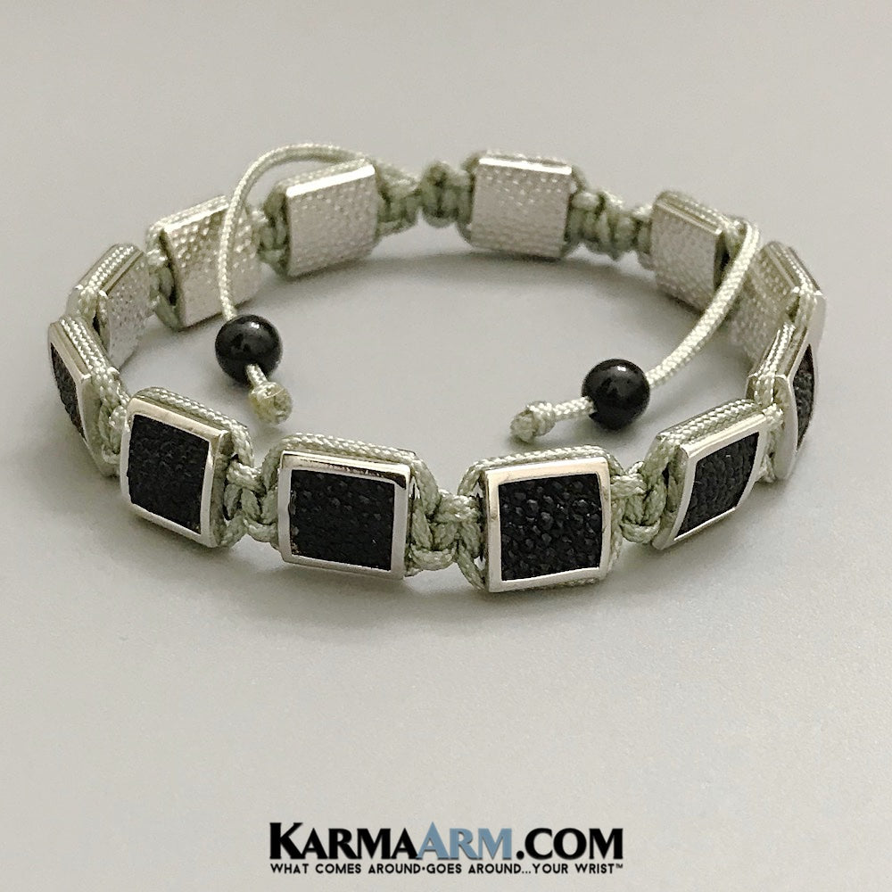 Mens Bracelets. Mens Jewelry. Flat Beads. FlatBeads Bracelets. Stingray Leather Bracelets. White Gold. Grey.