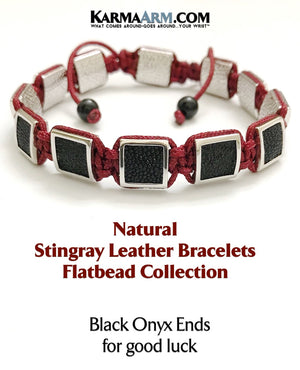 Mens Bracelets. Mens Jewelry. Flat Beads. FlatBeads Bracelets. Stingray Leather Bracelets. White Gold. Red.