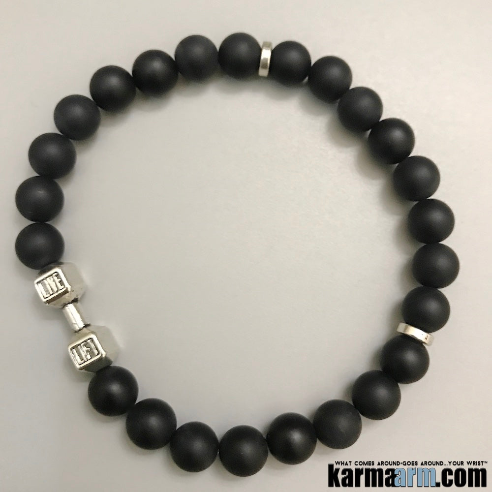 Mens Bracelets. Yoga Jewelry. Fitness Bracelet. Dumbbell Barbell Weightlighting Gym Jewelry.