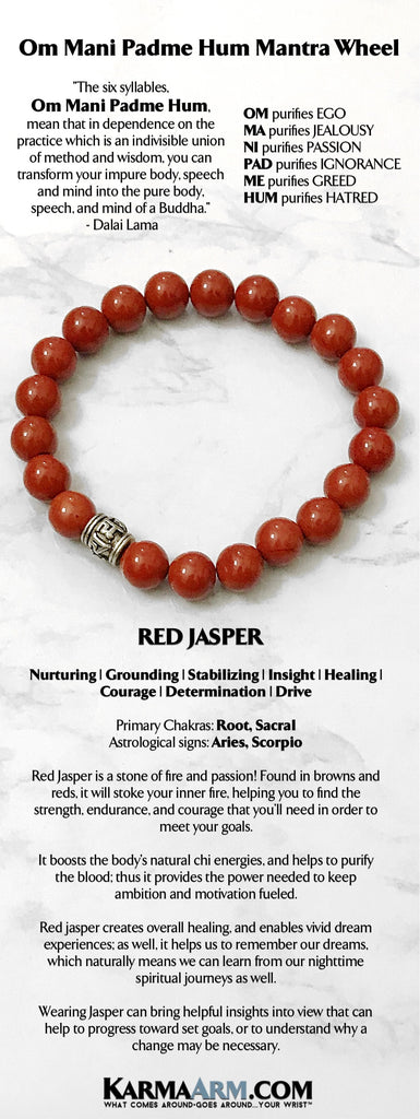 Mens Bracelets. Yoga Jewelry. Om Mani Padme Hum Red Jasper Bracelets. Gifts Stretch Mala. Beaded Chakra Jewelry.