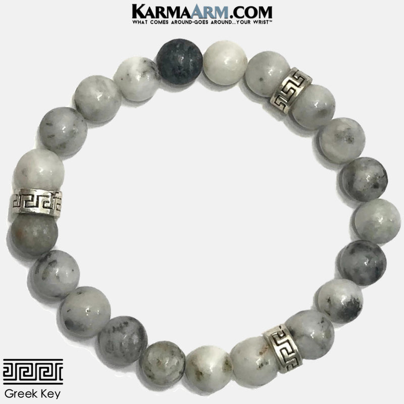 Mens greek key Meditation Mantra Yoga Bracelets. Self-Care Wellness Wristband Jewelry. Green Earth Jasper. copy 3