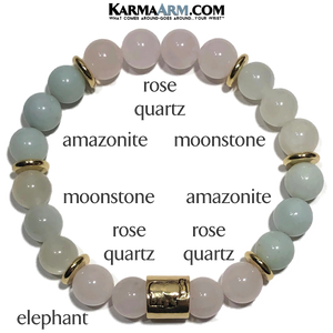 CUSTOM ORDER | Mercedes | Moonstone | Rose Quartz | Amazonite Elephant Bracelet