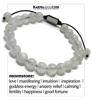Mindful Meditation Wellness  Self-Care Yoga Bracelets. Mens Wristband Jewelry. Moonstone.
