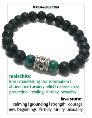 Mindful Meditation Wellness Self-Care Yoga Bracelets. Mens Wristband Malachite Jewelry.