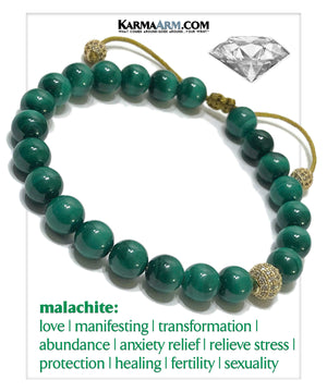 Mindful Meditation Wellness Self-Care Yoga Bracelets. Mens Wristband Jewelry. Malachite.