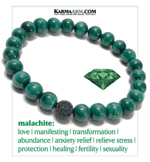 AMBITION | Malachite | Emerald Green CZ Diamond Pave Ball Bracelet