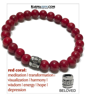 Mindfulness Beloved Yoga bracelets. mens wristband Meditation jewelry. Red Coral.