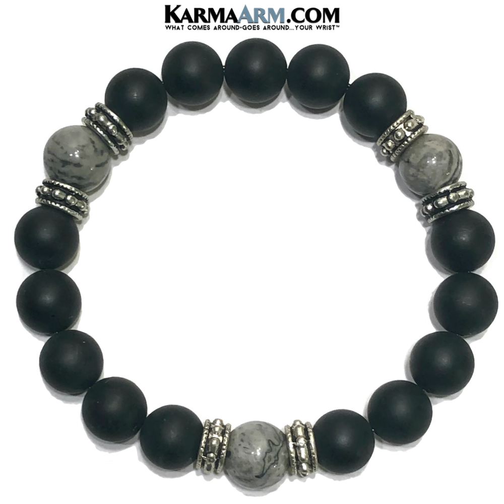 Mindfulness Meditation Mantra Yoga Bracelets. Mens Wristband Jewelry. Black Onyx Silver Crazy Lace.