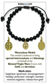 Miracle Medal Divine Mercy Our Lady of Guadalupe Charm Bracelet. Black Onyx.