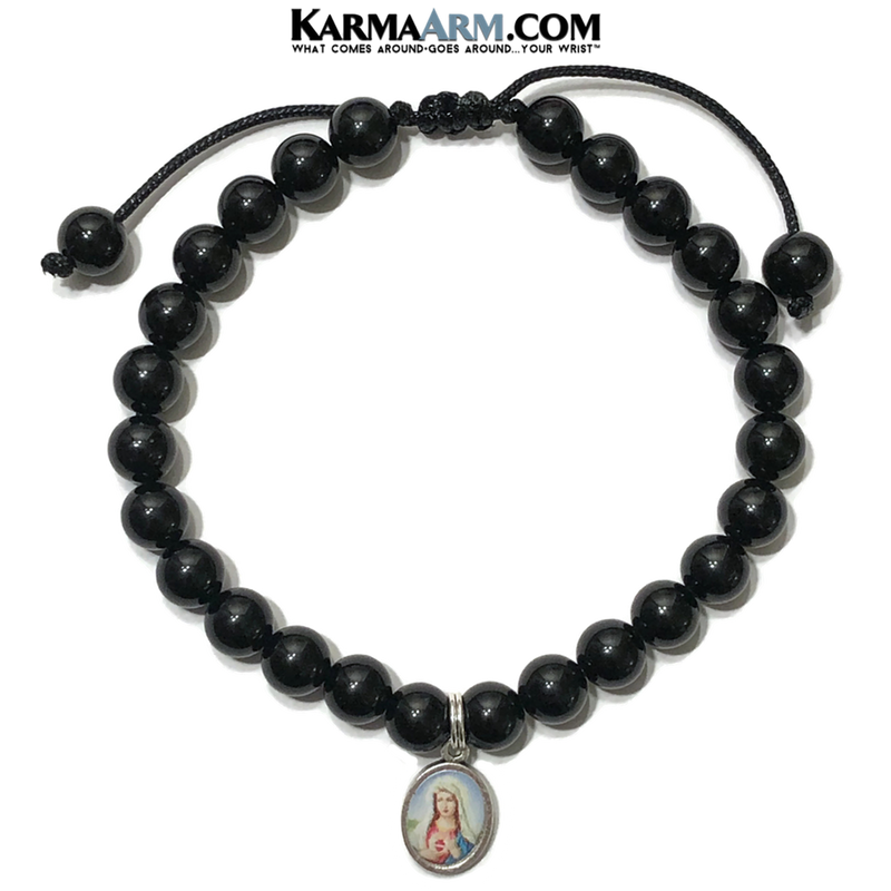 Miracle Medal Immaculate Heart of Mary Charm Bracelet. Black Onyx.